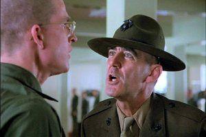 """R. Lee Ermey as Gny. Sgt. Hartman in """"Full Metal Jacket"""" 1987"""