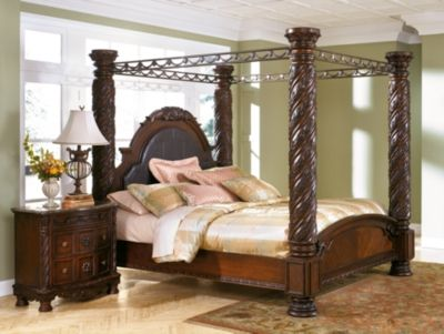 North S California King Poster Bed With Canopy By Ashley Home Dark Brown