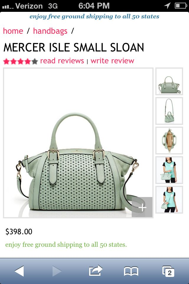 Kate Spade Mint Bag!!! I want this more than words can describe!!!