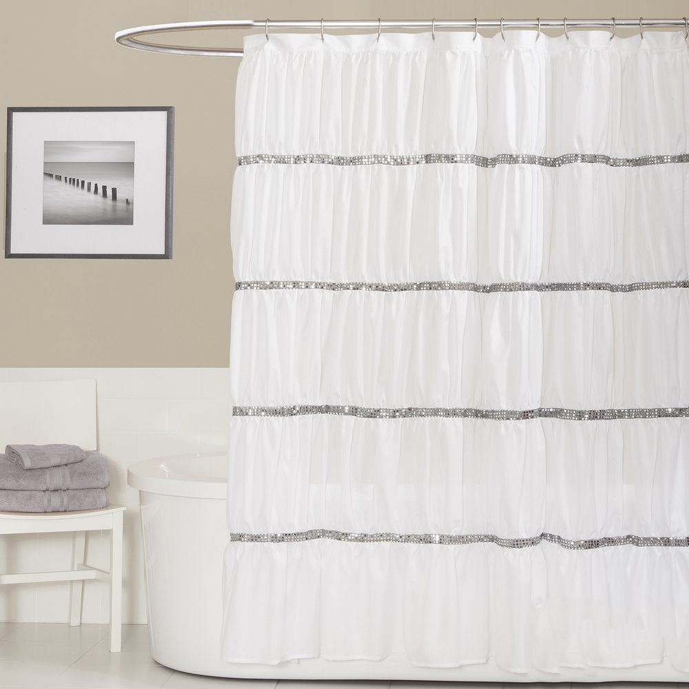 Lush decor twinkle white shower curtain overstock shopping