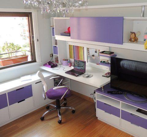 Escritorio en blanco & violeta con cama capitoneè
