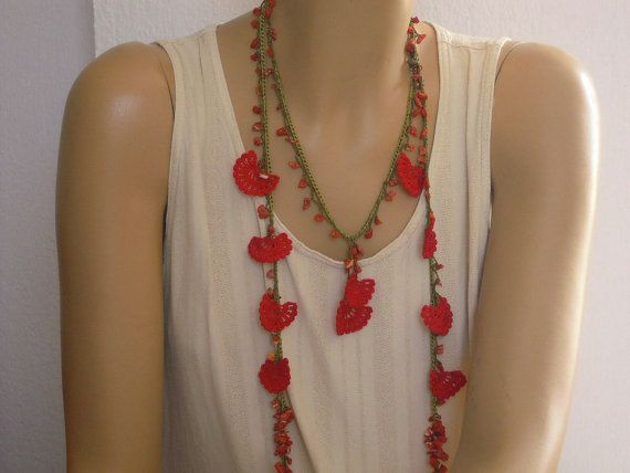 red crochet necklace lariat by PashaBodrum on Etsy