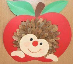 Igel auf apfel ahorn der herbst ist da for Apfel basteln herbst