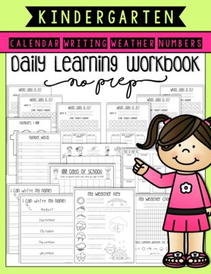 Kindergarten Daily Learning Workbook (No Prep!) from Kari B Camp on TeachersNotebook.com (145 pages)