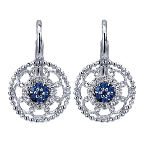 14k White Gold Diamond  And Sapphire Drop Earrings | Gabriel