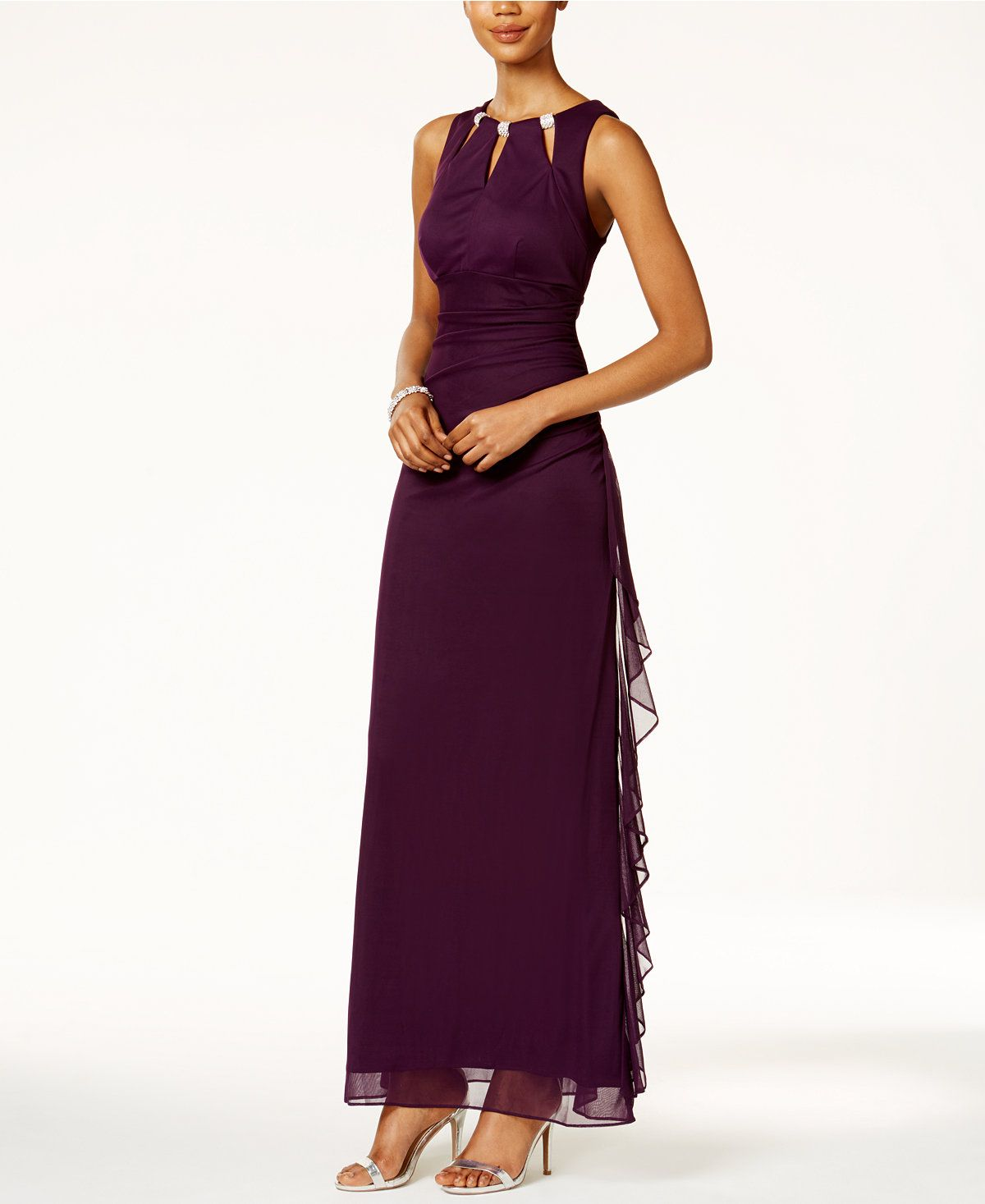Bua by betsy and adam embellished keyhole ruched gown dresses