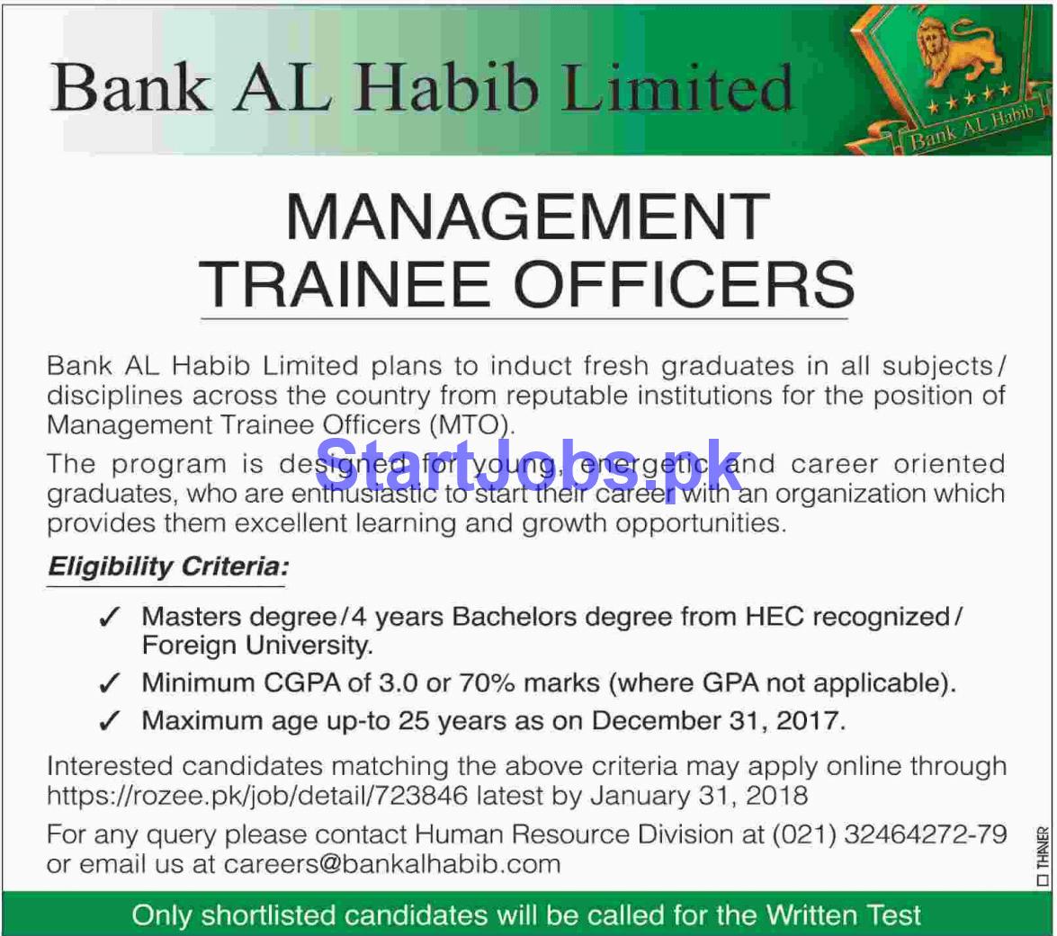 Bank Al Habib Graduate Trainee Program 2019 Government