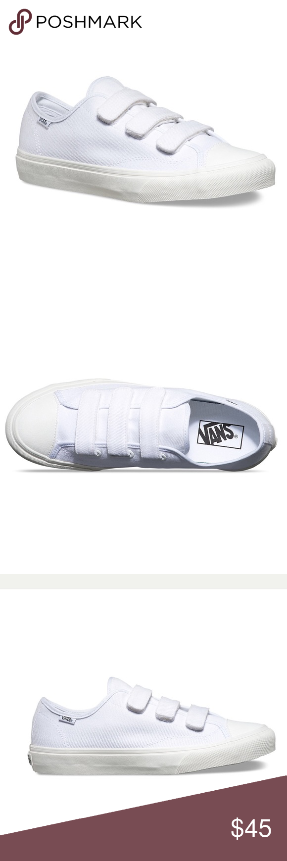 Vans Prison Issue Vans Prison Issue. Velcro straps. White canvas with white  leather cap toe. Unisex. Men s size 5.5 Women s size 7. f0b362e40