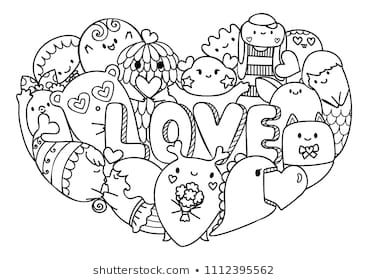 Hand drawn cute monsters form in hearted shape with the