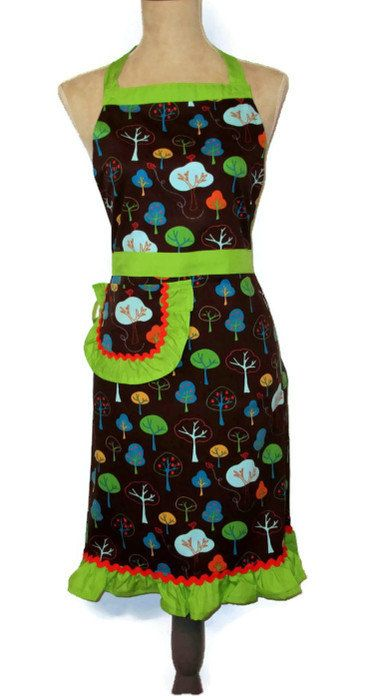 Retro Apple Trees Full Apron  Lime Green and by TheSapphireKey, $37.50