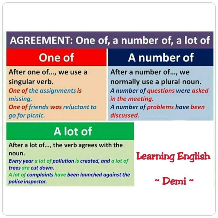 English - one of, a number of, a lot of