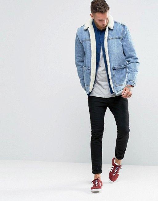 720da165fdd1 DESIGN - Veste en jean avec doublure imitation peau de mouton - Bleu ...