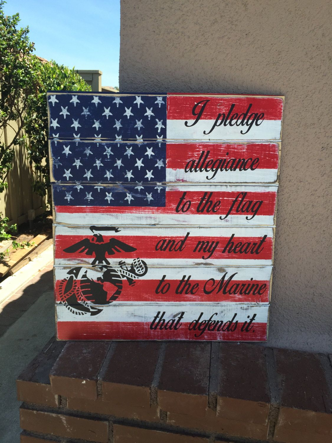 Marine Wood Sign Rustic Marine Sign Patriotic Marine