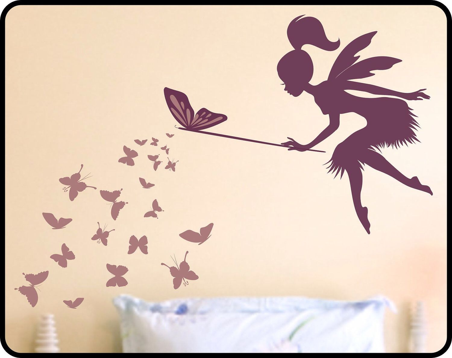 Butterfly Fairy With Butterfly Wand Vinyl Wall Decal   Nursery Wall Decor Fairy  Wall Decal By