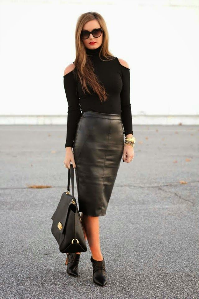 abfc86cfa0 Black on Black on For All Things Lovely www.forallthingslovely.com Leather  Pencil Skirt, Cold Shoulder Turtleneck, Prada Sunglasses, Black Booties, ...