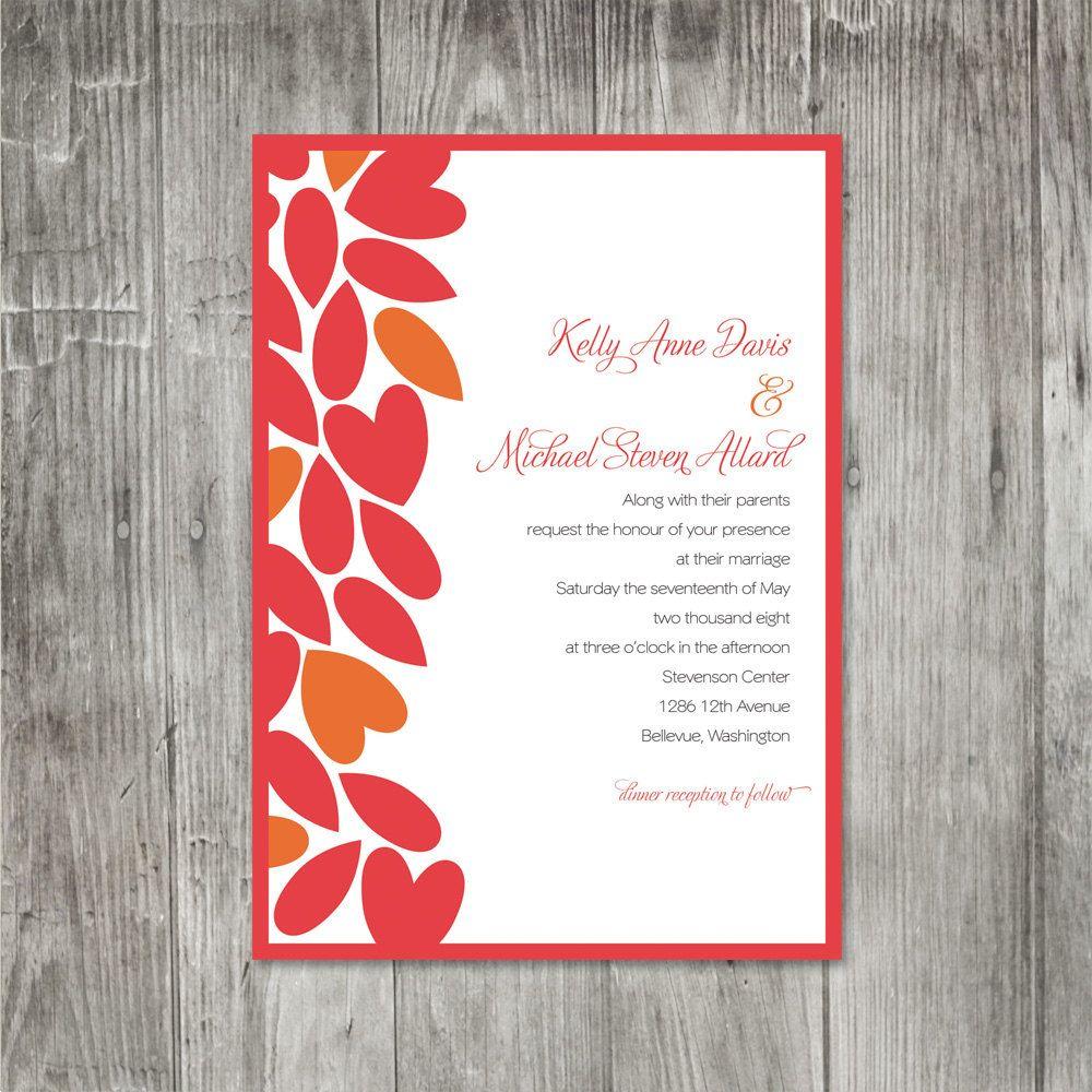 Petal Hearts Wedding Invitation by pinklilypress on Etsy, $5.00 ...