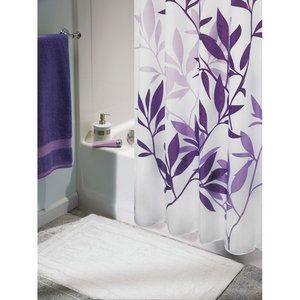 Interdesign Leaves Fabric Shower Curtain Standard 72 X 72 Purple Walmart Com Purple Bathrooms Fabric Shower Curtains Purple Shower Curtain
