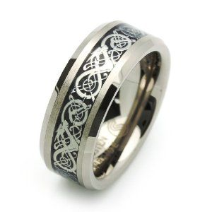 8MM Comfort Fit Tungsten Wedding Band Celtic Dragon Enlaid Ring For