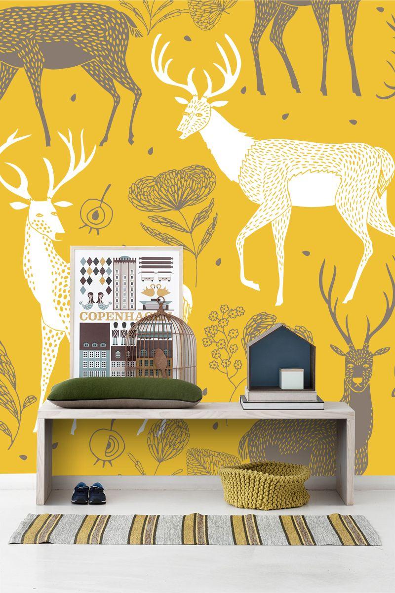 White Deer Wallpaper Wall Mural   MuralsWallpaper.co.uk   Deer print ...