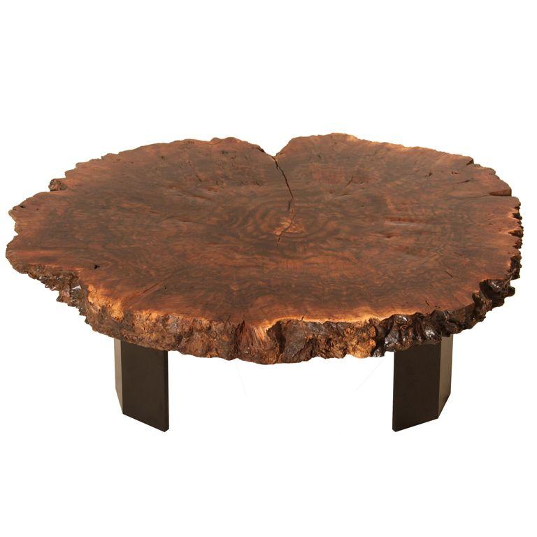 Walnut Burl coffee table with custom forged angular metal base