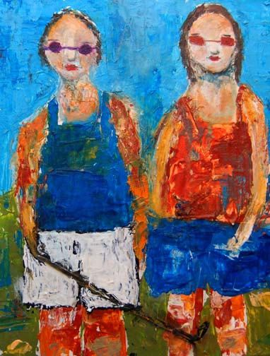 Acrylic Palette Knife Painting  Girl's Golf Day, Palette knife painting, figurative artists