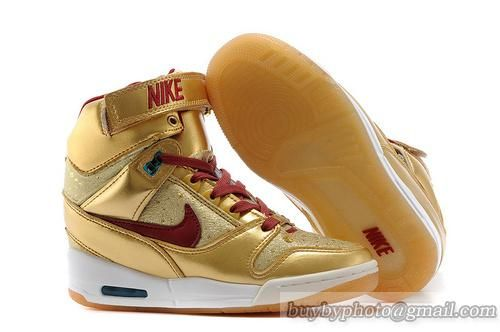 best loved 800f6 5c8ac Women s Nike Air Revolution Sky Hi Leather High-top Sneakers BHM QS  Metallic Gold