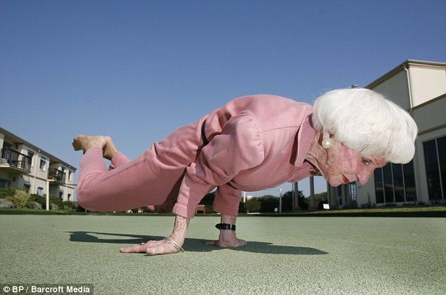 83 y/o Australian yoga instructor in Mayurasana (peacock pose). I want to look her up when I visit AU in September!
