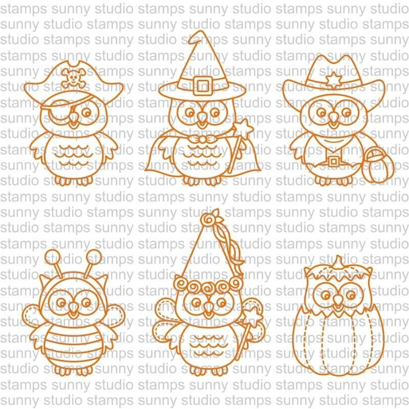 Sunny Studio HAPPY OWLOWEEN Clear Stamp Set SSCL171