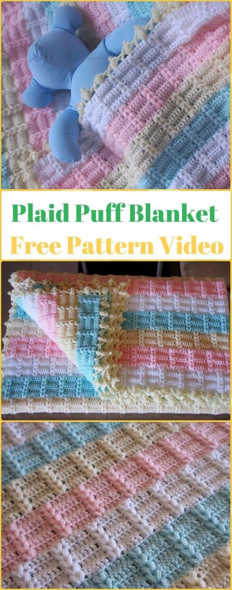 Crochet Easy Rainbow Puffy Plaid Baby Blanket Free Pattern & Video ...