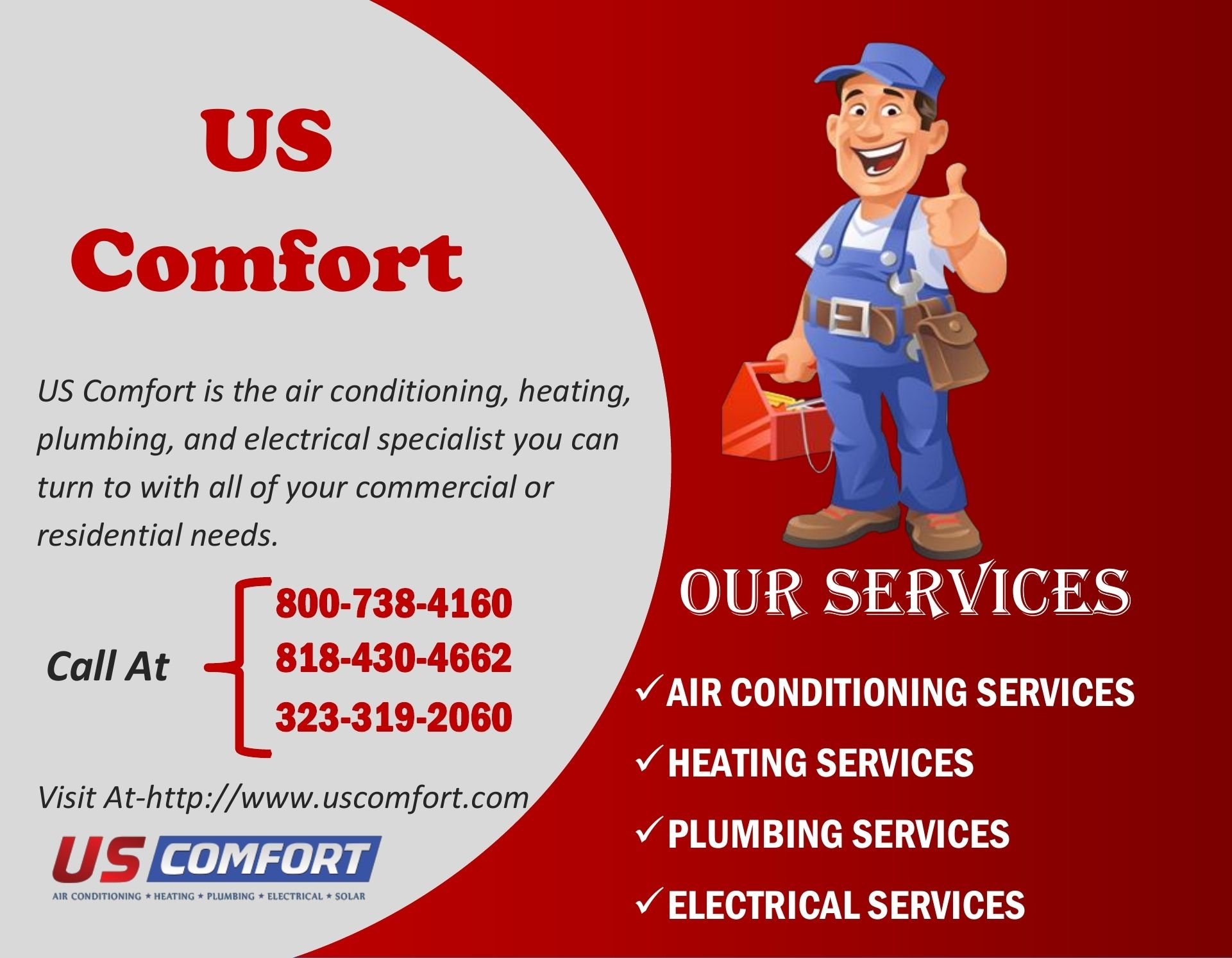Us Comfort Air Conditioning Services Heating Services Hvac Company
