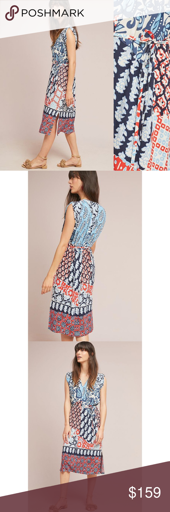 8bebed7daadd HTF NWT ANTHROPOLOGIE Patchwork Pleated Midi Dress HTF Brand new with tags  NWT ANTHROPOLOGIE Porridge Patchwork