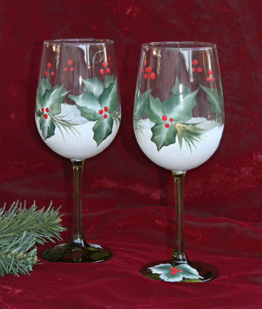 Hand Painted Christmas Wine Glasses Set Of 2 Snow And Holly Christmas Wine Glasses Christmas Wine Glasses Hand Painted Painted Wine Glasses Christmas