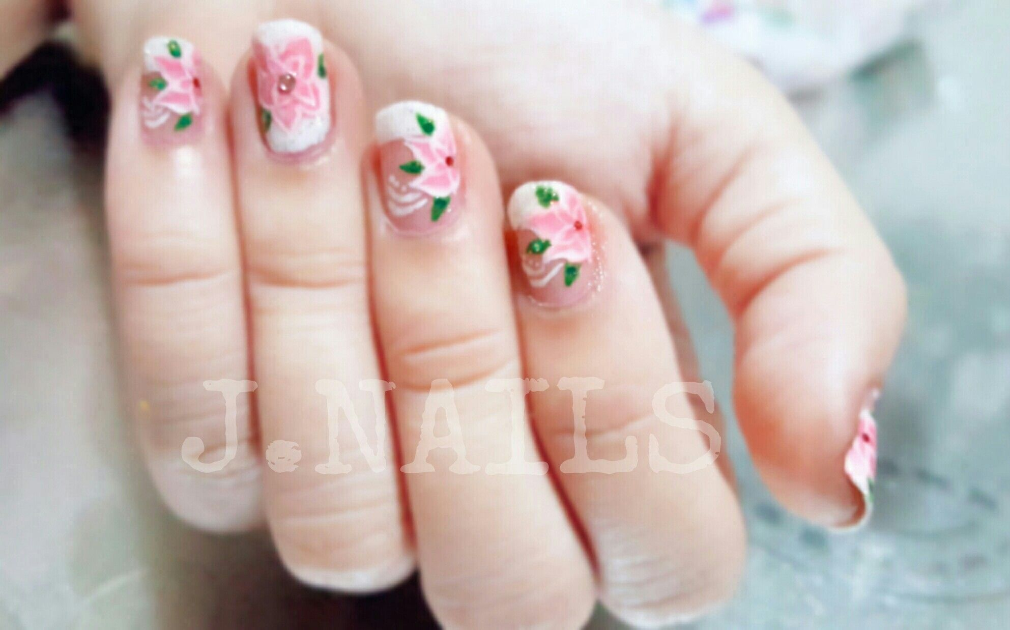 Pink Flowers in White French Tip #JNAILS