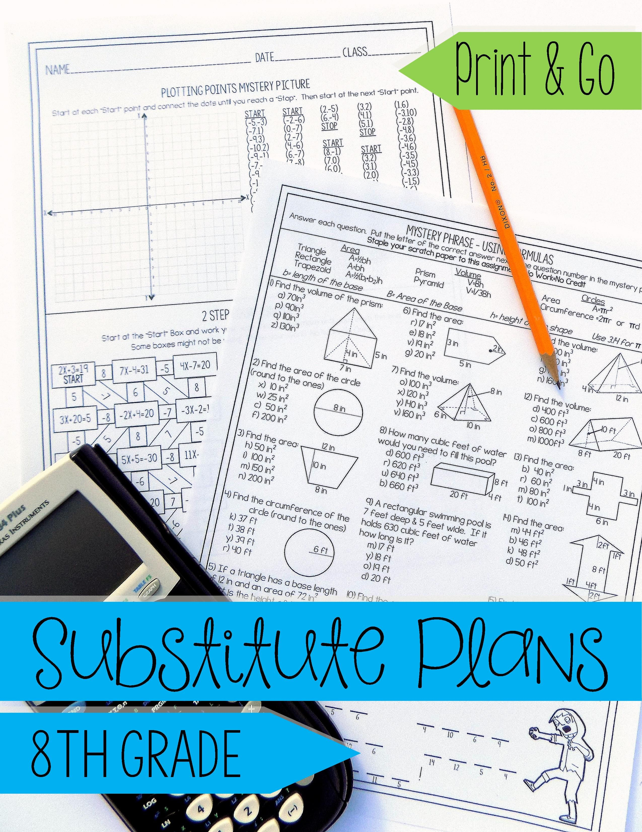 8th Math No Prep Sub Lesson Substitute Teacher Activity
