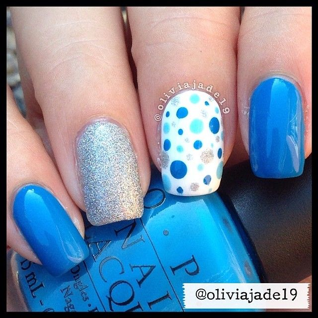 Polishes used: OPI Ogre The Top Blue, What\'s With The Cattitude ...