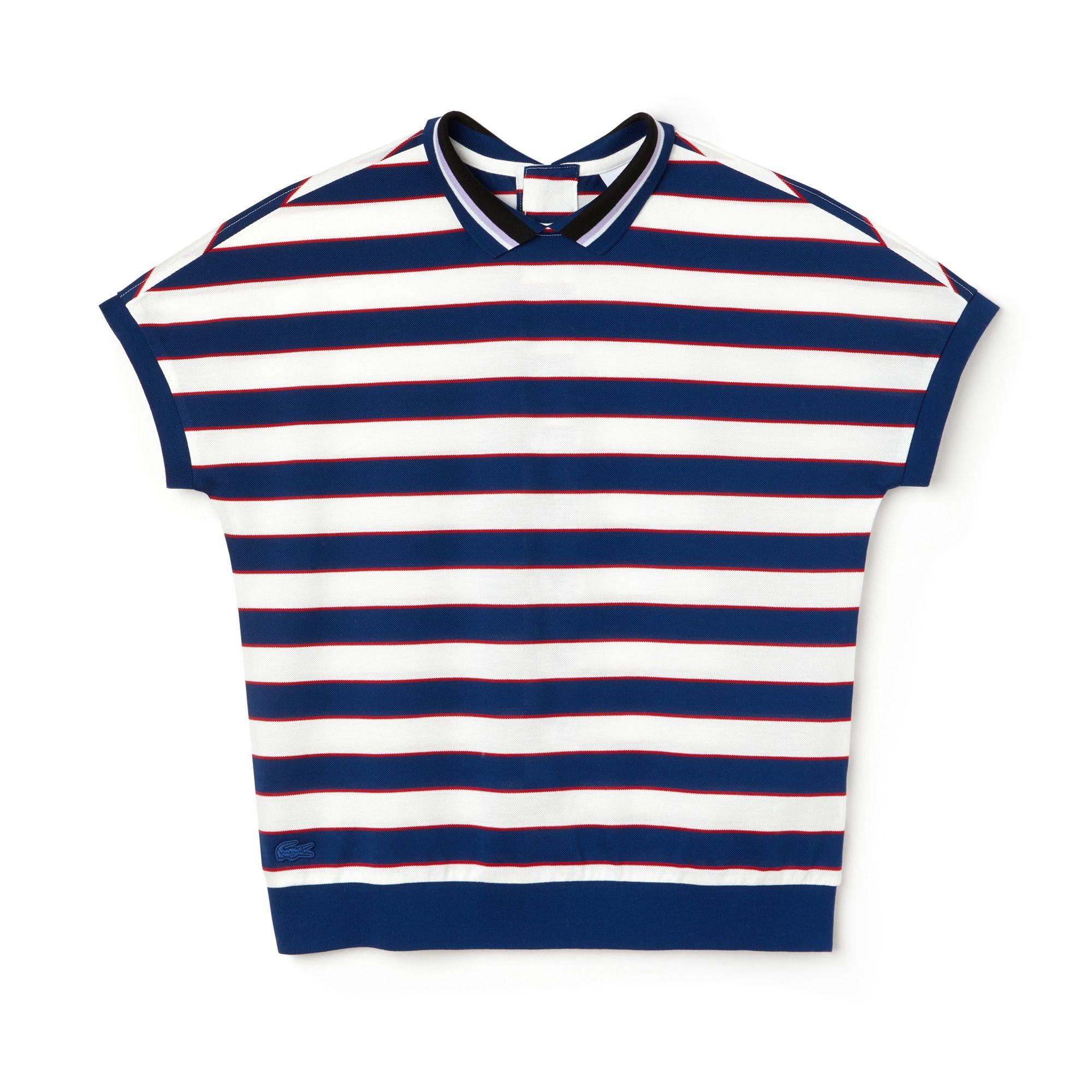 Lacoste Mens Pique Crew Neck Tricolour Hem T-Shirt White