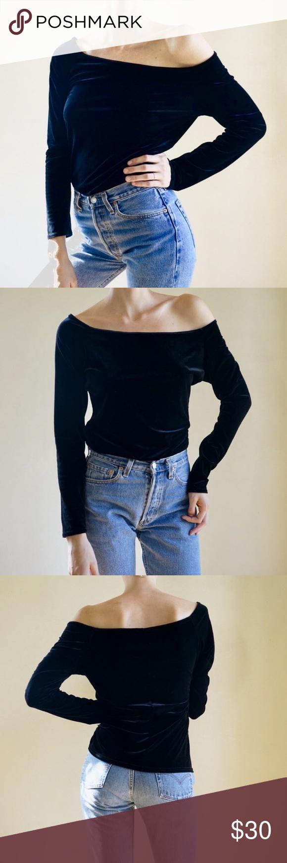 2bcde87b10294 Vintage 90s Express off the shoulder black velvet Black velvet vintage  Express Tricot off the shoulder long sleeve top. Fits like women s L but  modeled on ...