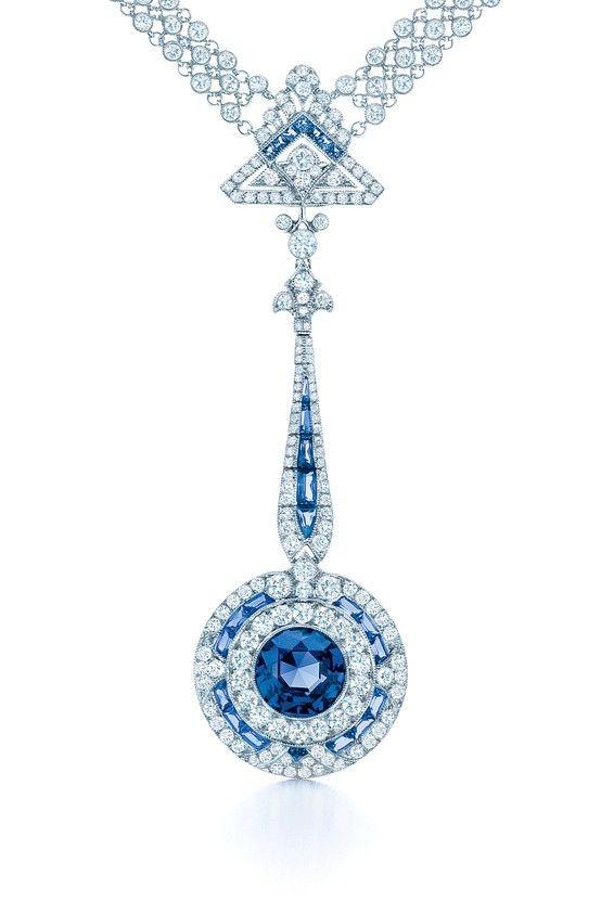 550e0b7db655 A necklace is set with a rare esteemed Montana sapphire