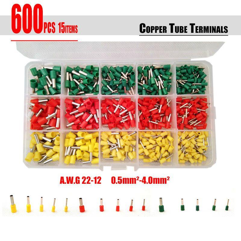 شحن مجاني 600 قطعة المجموعة 3 ألوان أنبوب محطات موصل كابل سلك الحبل دبوس نهاية Bootlace الحلقات كيت ل 22 12awg Cable Wire Promo Free Kit