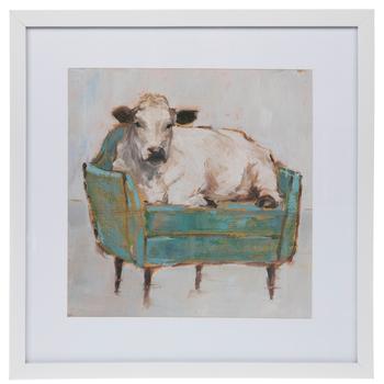 Cow On Blue Chair Framed Wall Decor Hobby Lobby 5250717 Canvas Art Painting Wrapped Canvas Art