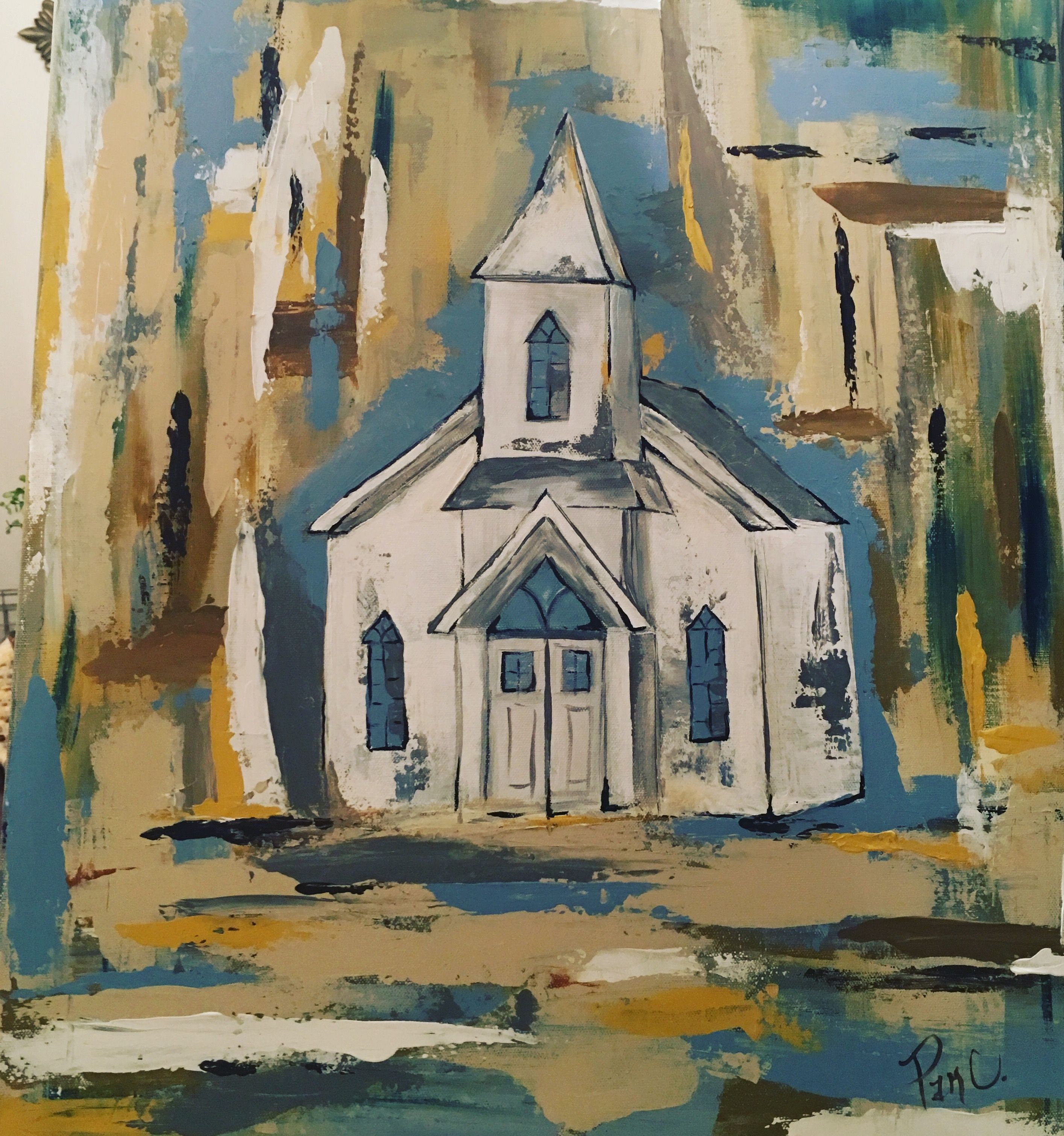 Church In The Woods Original 20x24 Abstract Acrylic