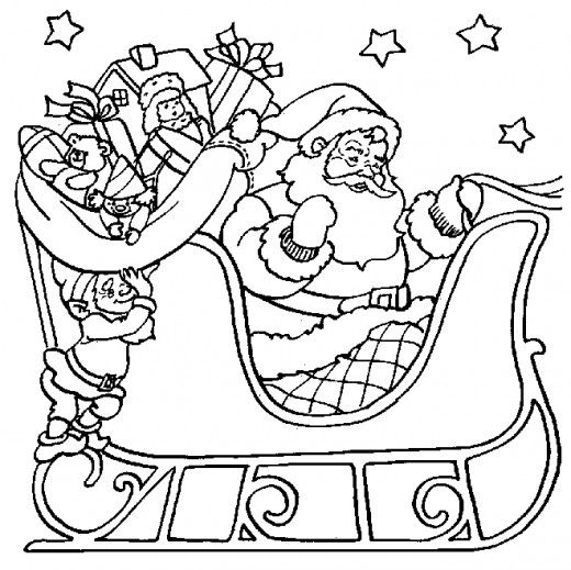 Santa In Sleigh With Elf Coloring Page Cool Pinterest