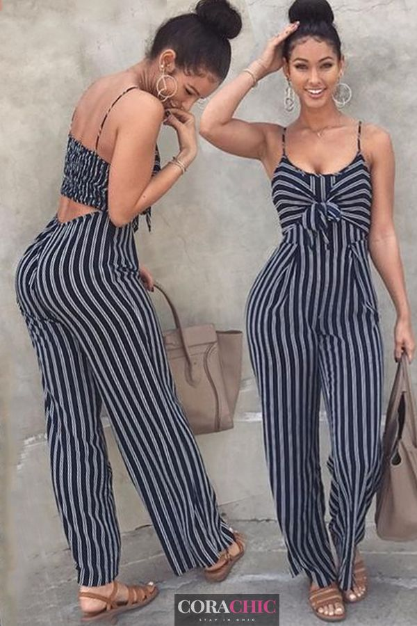 7a66ad16a Backless Stripe Jumpsuits Women Sexy Party Casual Bowtie Overalls Rompers  Plus Size   Best for summer   Shop new outfits now!