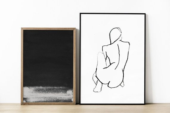 Line Drawing Female : Minimal figure drawing original line nude woman