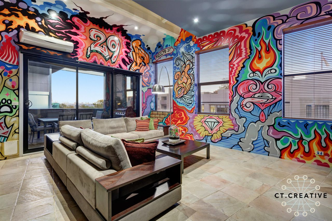 Indoor graffiti art lounge room ideas photography by ct creative