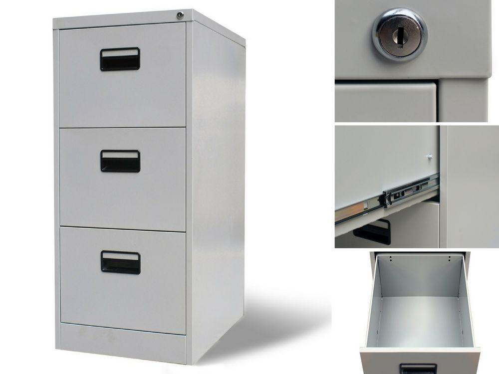 Beautiful 3 Drawer Metal Filing Cabinet Lockable Office Paper Organiser Storage Unit  Chest