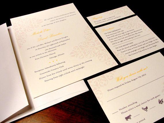 Elegant River Custom Color Wedding Invitation Unique Simple Yellow Flourish