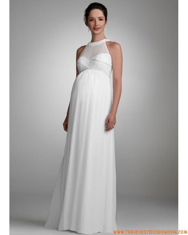Línea A y no cintura largos Vestidos de novia para embarazadas ...