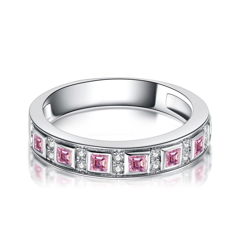 Princess Cut Pink Stone Wedding Band with Sterling Silver
