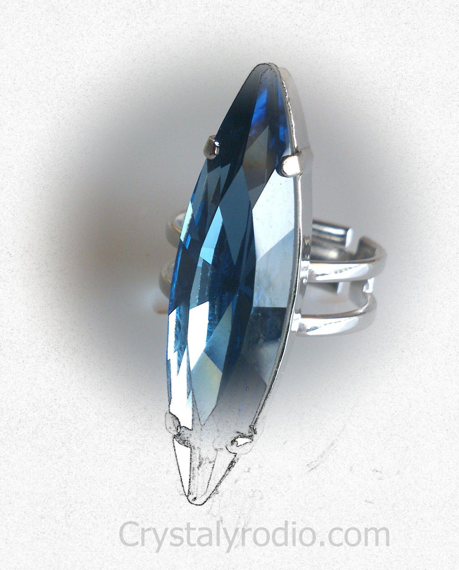 8d99b60fa4c3 Anillo de piedra oval con cristal swarovski elements una sola talla en rodio  antialeregico